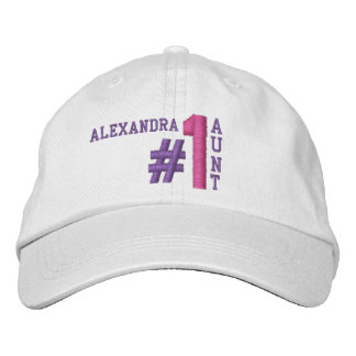 #1 Number One AUNT White Hat V014 PURPLE PINK