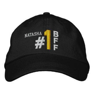#1 Number One BEST FRIEND BFF BLACK Hat V02