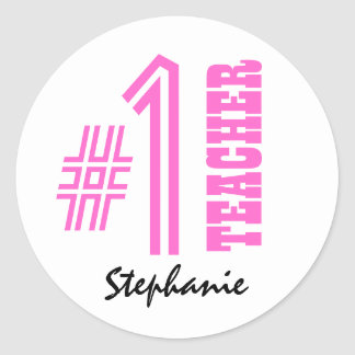 #1 Number One Teacher Custom Name Gift Item Classic Round Sticker
