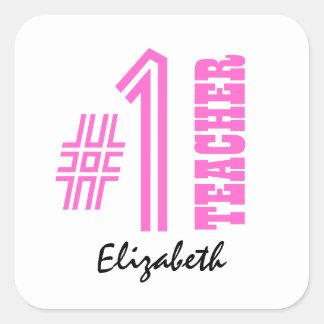 #1 Number One Teacher Custom Name Gift Item Square Sticker