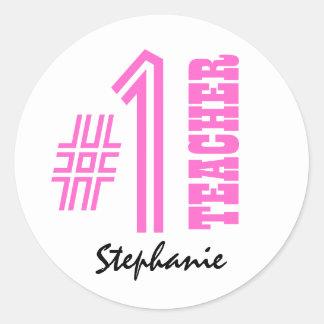#1 Number One Teacher Custom Name Gift Item Classic Round Sticker