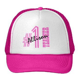 #1 Number One Teacher Custom Name Gift Item Trucker Hat