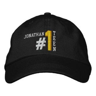 #1 Number One TEEN BLACK Hat V01A