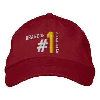 #1 Number One TEEN RED Hat V02