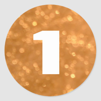 1 - Numbers Golden Round Sticker