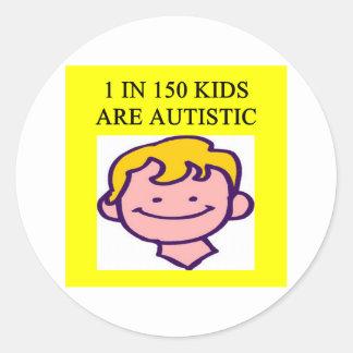 1 on 150 kids is autistics round sticker
