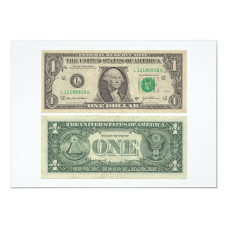 1 One Dollar Federal Reserve Note Front & Back 5x7 Paper Invitation Card