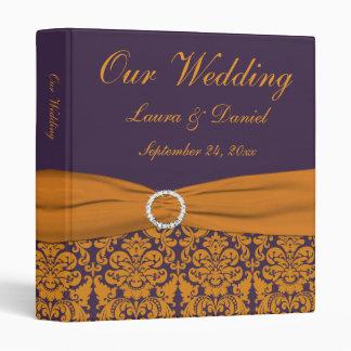 "1"" Orange and Purple Damask Wedding Binder"