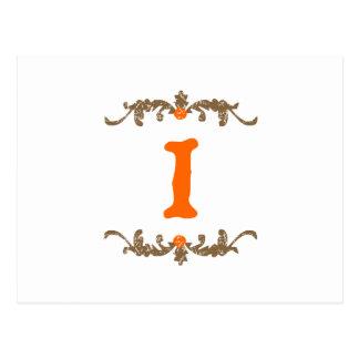 #1 Orange & Brown Scroll Postcard