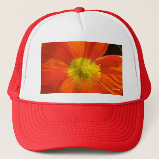1 Orange Red Poppy Trucker Hat