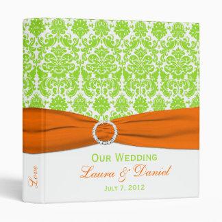 "1"" Orange, White and Lime Damask Wedding Binder"