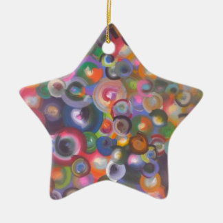 1 Double-Sided STAR CERAMIC CHRISTMAS ORNAMENT