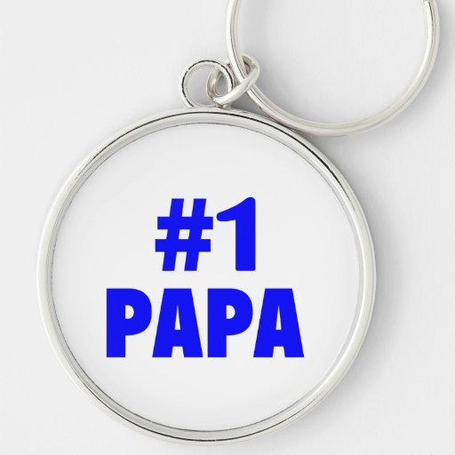 #1 Papa (Blue) Silver-Colored Round Keychain