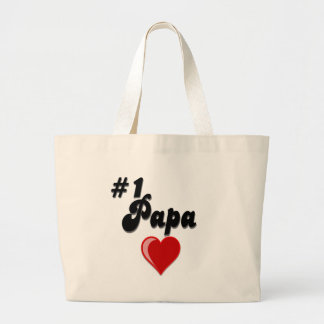 #1 Papa - Celebrate Grandparent's Day Large Tote Bag