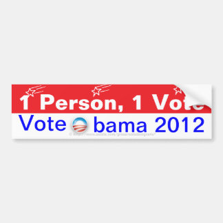1 Person, 1 Vote.  Vote Obama 2012 Bumper Sticker