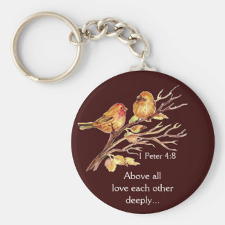 1 Peter 4:8 Love Each Other Deeply Scripture Birds Basic Round Button Keychain