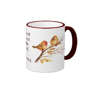 1 Peter 4:8 Love Each Other Deeply Scripture Birds Ringer Coffee Mug