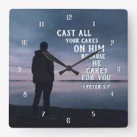 1 Peter 5:7 Cast all your cares on Him Bible Verse Square Wall Clock