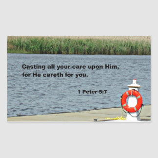 1 Peter 5:7 Casting all your care upon Him... Rectangular Stickers