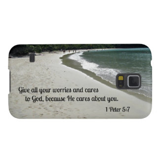 1 Peter 5:7 Give all your worries and cares to God Galaxy S5 Cover