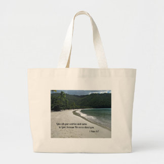 1 Peter 5:7 Give all your worries and cares to God Large Tote Bag
