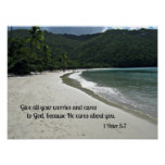 1 Peter 5:7 Give all your worries and cares to God Print