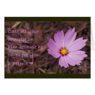 1 Peter 5:7 Scripture Card Pink Flower