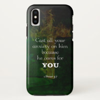 1 Peter 5:7 Uplifting Bible Verses Quote iPhone X Case