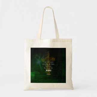1 Peter 5:7 Uplifting Bible Verses Quote Tote Bag