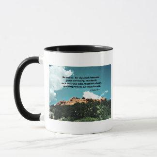 1 Peter 5:8 Be sober, be vigilant; because.... Mug