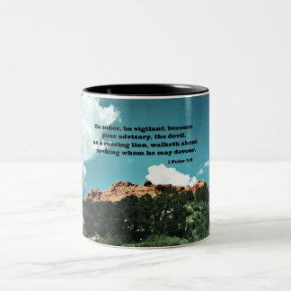 1 Peter 5:8 Be sober, be vigilant; because.... Two-Tone Coffee Mug