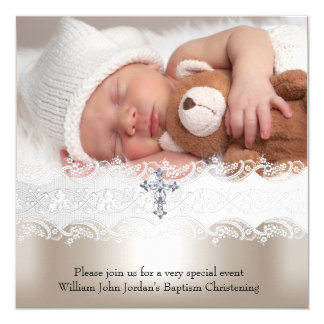1 Photo Baptism White Beige Cross Baby Girl Boy 5.25x5.25 Square Paper Invitation Card