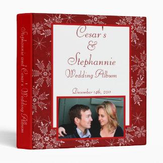 "1"" Photo Binder Scrapbook Christmas Red Snowflakes"