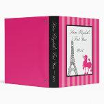 "1"" Photo Binder Scrapbook Pink Poodle Paris Eiffel"