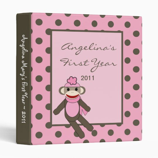 "1"" Photo Binder Scrapbook Pink Sock Monkey"