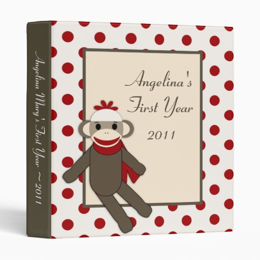 "1"" Photo Binder Scrapbook Red Sock Monkey"