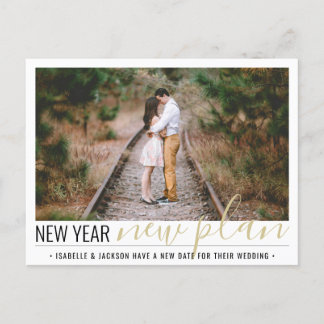 1 Photo Change of Plans Wedding New Years Holiday Announcement Postcard