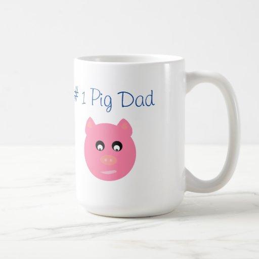 # 1 Pig Dad, Pink Pig Face White Mug