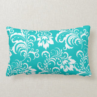 1 Pillow Teal Blue White Damask Floral