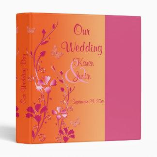 "1"" Pink and Orange Floral Wedding Binder"