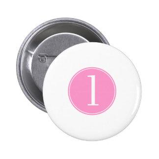 #1 Pink Circle 2 Inch Round Button