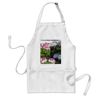 1 Pink Geranium Blue Hydrangeas Adult Apron