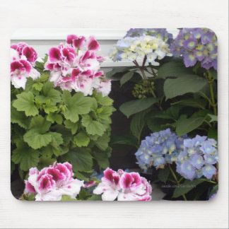 1 Pink Geranium Blue Hydrangeas Mouse Pad