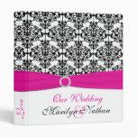 """1"""" Pink, White and Black Damask Wedding Binder"""
