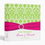 "1"" Pink, White and Lime Damask Wedding Binder"