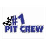 #1 Pit Crew Checkered Flag Postcard