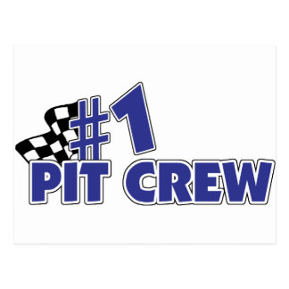#1 Pit Crew Checkered Flag Postcards