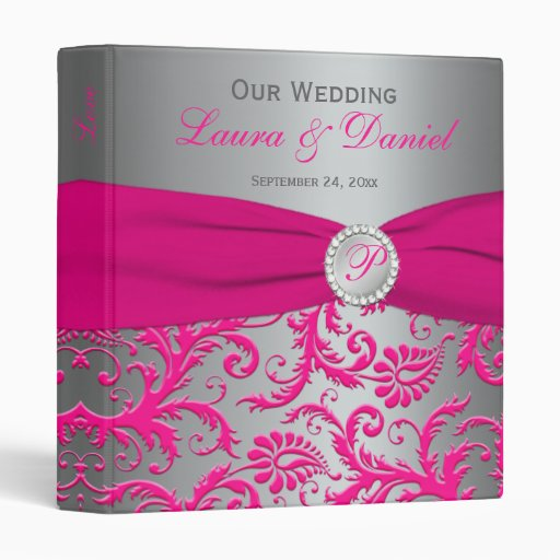"1"" plata/carpeta gris y rosada del boda del damasc"