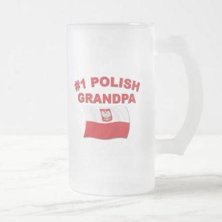 #1 Polish Grandpa Frosted Glass Beer Mug