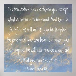 1 poster del verso de la biblia del 10:13 de los C
